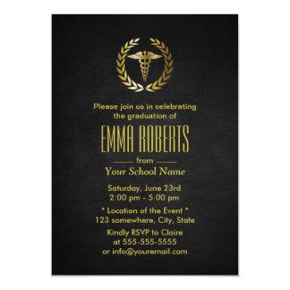 Medical or Nursing School Black & Gold Graduation Card
