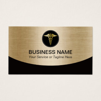 Medical Professional Black & Gold Business Card