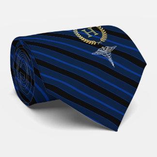 Medical Professional Framed Monogram Blue Tie