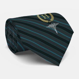 Medical Professional Framed Monogram Slate Blue Tie