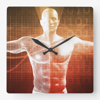Medical Research on the Human Body as Concept Square Wall Clock