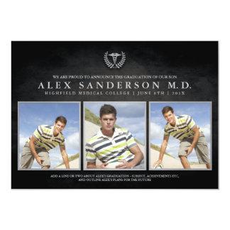 Medical School Graduation Photo Card with Caduceus 13 Cm X 18 Cm Invitation Card