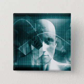 Medical Science Futuristic Technology as a Art 15 Cm Square Badge