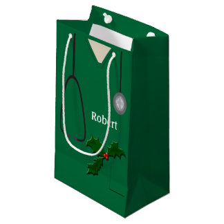 Medical Scrubs Green Holly SGB Small Gift Bag