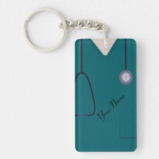 Medical Scrubs Nurse Teal Custom Acrylic Key Ring