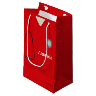 Medical Scrubs Red SGB Small Gift Bag