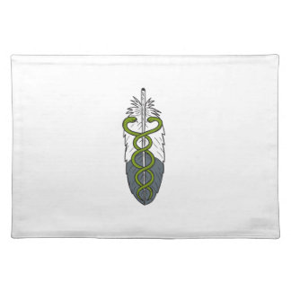 Medical Snake Eagle Feather Drawing Placemat