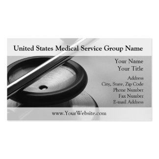 Medical Stethoscope Black and White Business Card Templates