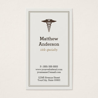 Medical Student Teacher Caduceus - Elegant Classic Business Card