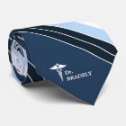 Medical Symbol Custom Name Navy Blue Striped Tie
