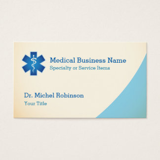 Medical Symbol Staff of Asclepius - Cream Blue Business Card