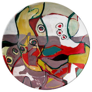 Medici Gardens Colorful Abstract Ceramic Plate