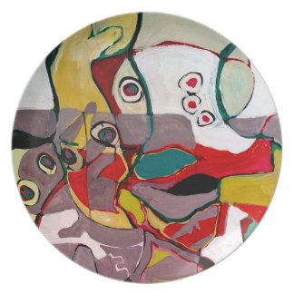 Medici Gardens Colorful Abstract Melamine Plate