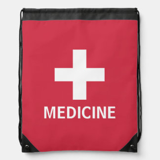 Medicine First Aid Symbol Red Medical Kit Drawstring Bag