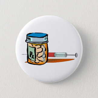 Medicine pills syringe pellet syringe 6 cm round badge