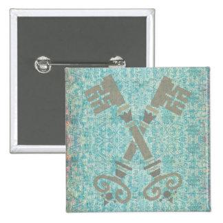 Medieval 21st keys against vintage blue pattern 15 cm square badge