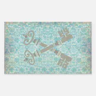 Medieval 21st keys against vintage blue pattern rectangular sticker