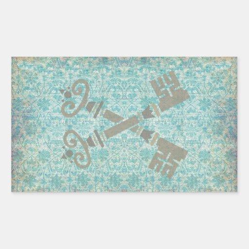 Medieval 21st keys against vintage blue pattern stickers