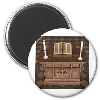 Medieval Alter and Bible 6 Cm Round Magnet