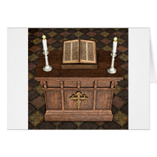 Medieval Alter and Bible Greeting Card