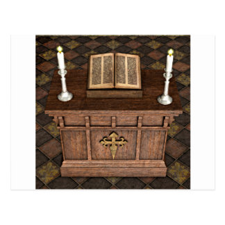 Medieval Alter and Bible Postcard