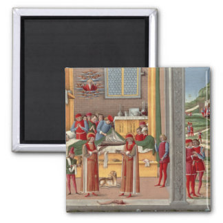 Medieval amputation scene square magnet