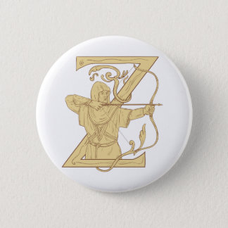 Medieval Archer Aiming Bow and Arrow Letter Z Draw 6 Cm Round Badge