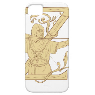 Medieval Archer Aiming Bow and Arrow Letter Z Draw Barely There iPhone 5 Case