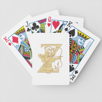 Medieval Archer Aiming Bow and Arrow Letter Z Draw Bicycle Playing Cards