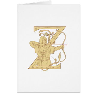 Medieval Archer Aiming Bow and Arrow Letter Z Draw Card