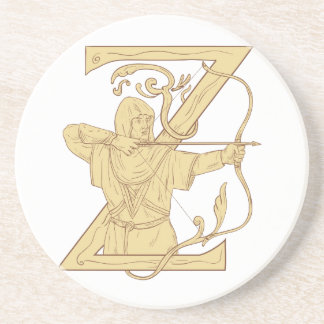Medieval Archer Aiming Bow and Arrow Letter Z Draw Coaster