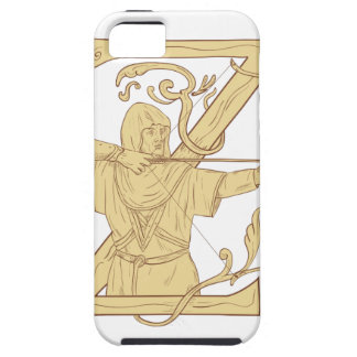 Medieval Archer Aiming Bow and Arrow Letter Z Draw iPhone 5 Cover