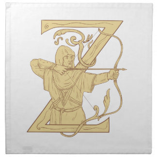 Medieval Archer Aiming Bow and Arrow Letter Z Draw Napkin