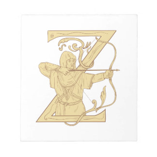 Medieval Archer Aiming Bow and Arrow Letter Z Draw Notepad