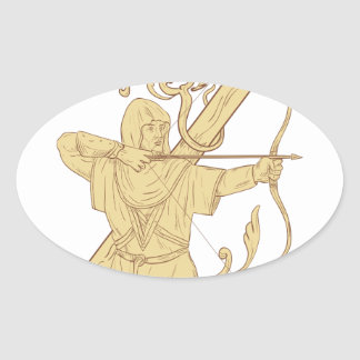 Medieval Archer Aiming Bow and Arrow Letter Z Draw Oval Sticker