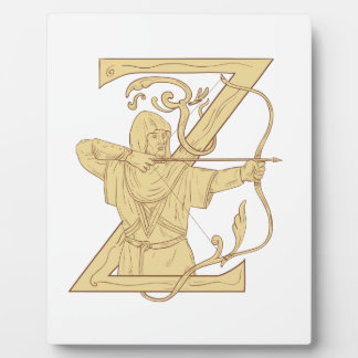 Medieval Archer Aiming Bow and Arrow Letter Z Draw Plaque