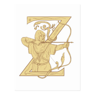 Medieval Archer Aiming Bow and Arrow Letter Z Draw Postcard