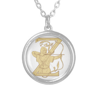 Medieval Archer Aiming Bow and Arrow Letter Z Draw Silver Plated Necklace
