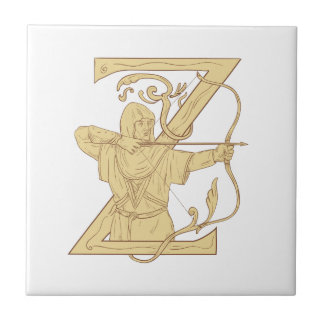Medieval Archer Aiming Bow and Arrow Letter Z Draw Small Square Tile