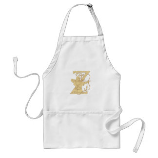 Medieval Archer Aiming Bow and Arrow Letter Z Draw Standard Apron