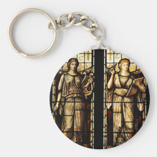 Medieval art basic round button key ring
