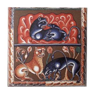 Medieval Art Lion Bestiary Bestiarium Miniature Ceramic Tile