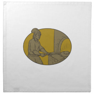 Medieval Baker Bread Peel Wood Oven Oval Drawing Napkin