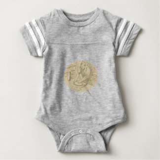Medieval Baker Kneading Bread Dough Oval Drawing Baby Bodysuit