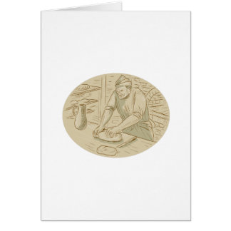 Medieval Baker Kneading Bread Dough Oval Drawing Card
