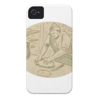 Medieval Baker Kneading Bread Dough Oval Drawing Case-Mate iPhone 4 Case