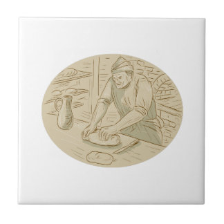 Medieval Baker Kneading Bread Dough Oval Drawing Ceramic Tile