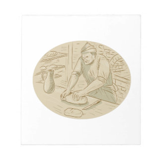 Medieval Baker Kneading Bread Dough Oval Drawing Notepad