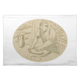 Medieval Baker Kneading Bread Dough Oval Drawing Placemat