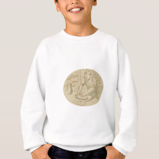 Medieval Baker Kneading Bread Dough Oval Drawing Sweatshirt